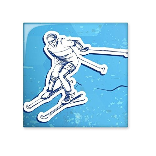 80%OFF Winter Sport Snowboarding Contes Ski Action Blue White Watercolor Illustration Ceramic Bisque Tiles for Decorating Bathroom Decor Kitchen Ceramic Tiles Wall Tiles