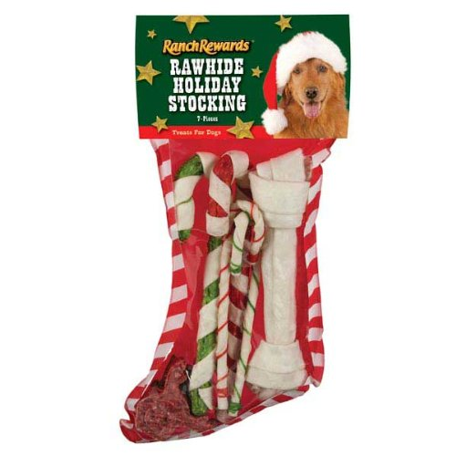 Ranch Rewards Rawhide Holiday Dog Stocking, Large, 7-Pack