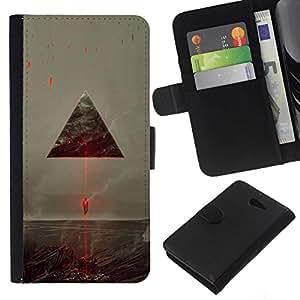NEECELL GIFT forCITY // Billetera de cuero Caso Cubierta de protección Carcasa / Leather Wallet Case for Sony Xperia M2 // Sci Fi Triángulo del vehículo espacial