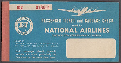 National Airlines airline ticket used Miami-Havana-Miani 1952