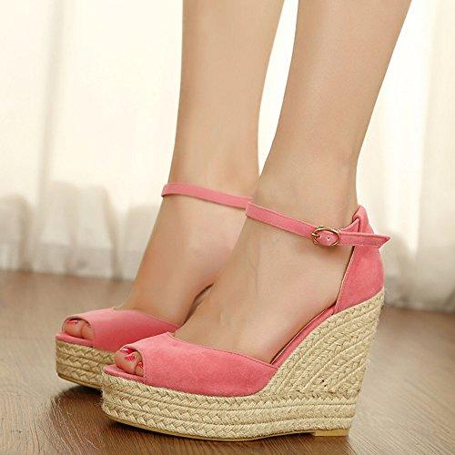 COOLCEPT Mujer Moda Correa de Tobillo Sandalias peep Toe Mini Tacon Plataforma Zapatos Rosado