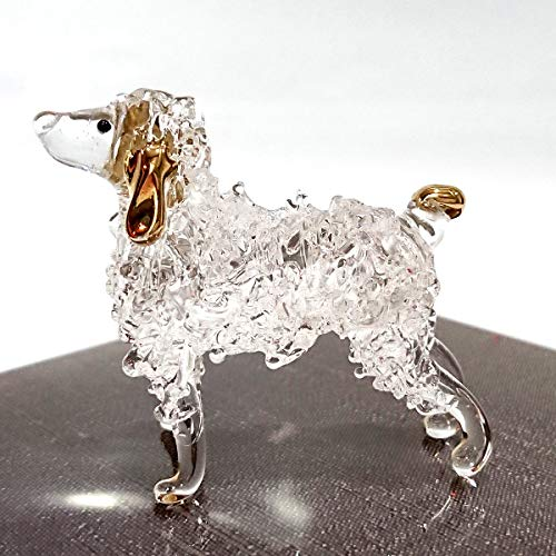 Sansukjai Poodle Figurines Dog Animals Hand Blown Glass Art Gold Trim Collectible Gift - Crystal Poodle