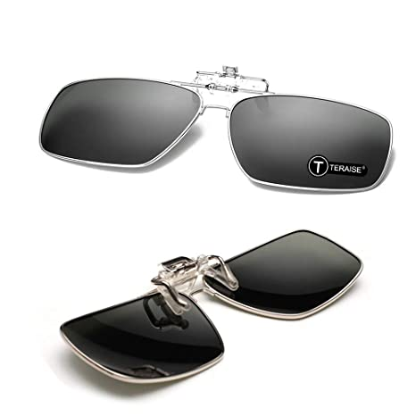 5d81f0eea4 TERAISE Polarized Clip-on Sunglasses Flip up Function Suitable Driving  Sports(Black)