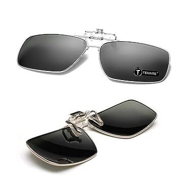 TERAISE Borde metálico Polarizado con Clip Clip de Gafas de Sol en Gafas de Sol con