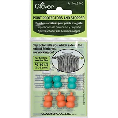 Point Protectors and Stoppers for Knitting Needles Size #0-10-1/2 Aqua/Pink, 6-Piece from Clover