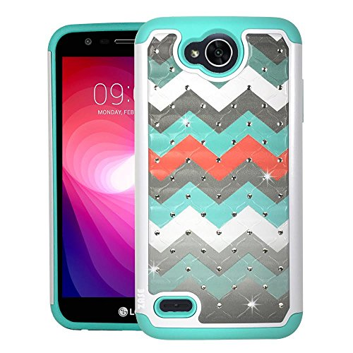 wer 2 Case, LG Fiesta LTE Hybrid Dual Layer Protection Hard Cover Jewel Rhinestone [Shock Resistant Defender] Crystal Bling Case for LG X Power2 by Zase (Diamond Teal Orange Wave) (Fiesta Pattern)