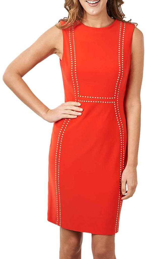 Joseph Ribkoff Red SleevelessStud Accent Dress Style 171022 - Size 14