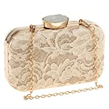 Fenteer Women Ladies Lace Shoulder Chain Handbag Party Prom Wedding Evening Clutch Purse - Apricot