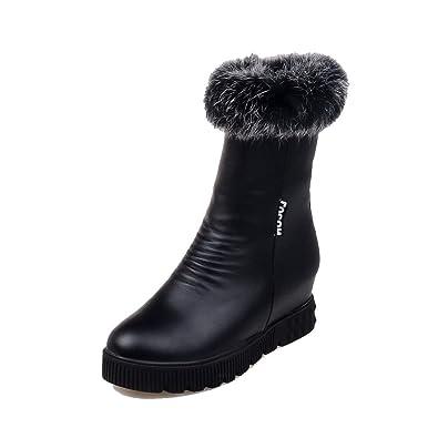VogueZone009 Damen Reißverschluss Rund Zehe PU Leder Mitte-Spitze Stiefel, Schwarz, 34
