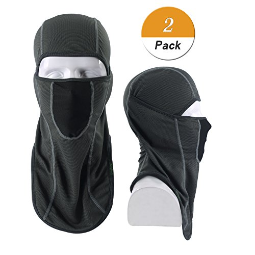 LONGLONG Balaclava - Windproof, Dust & Breathable Outdoor Multifunctional Summer Full Face Mask for Cycling, Hiking, Motorcycle (2 Pack Grey)