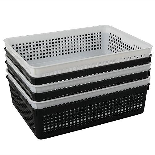 Teyyvn Rectangular Plastic A4 Paper Storage Baskets, Organization Trays, Set of 6 (White, Black)