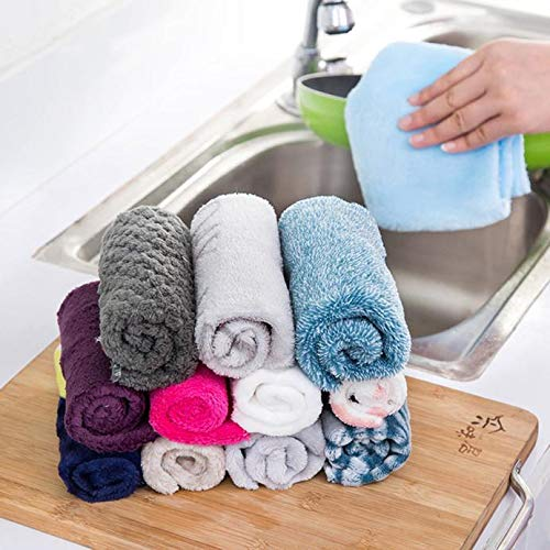 ♛Euone Towel ♛Clearance♛, 10Pcs High Efficient Anti-Grease Color Dish Cloth Bamboo Fiber Washing Towel Magic Kitchen Cleaning Wiping ()