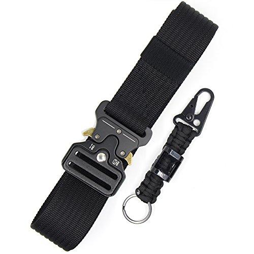 Tactical Belt for Men Black Nylon Web Utility Belt Military Battle Gun Belt Heavy Duty Waist Belt Metal Buckle Riggers Belt Quick Release Cobra EDC Belt Holster Belt for Police and Army]()