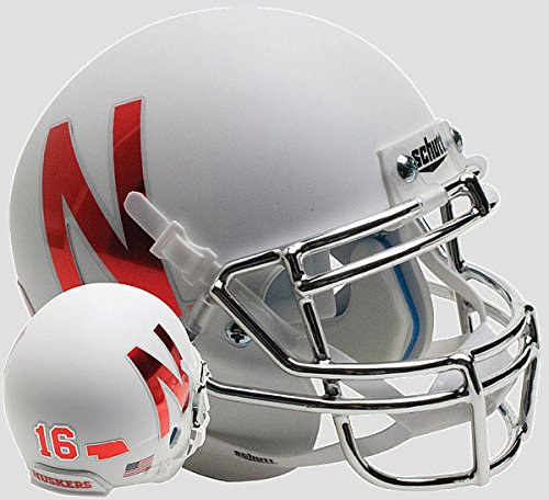 (Schutt Nebraska Cornhuskers Full XP Replica Football Helmet Silver Mask - Licensed NCAA Merchandise)