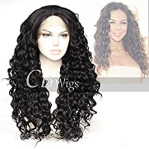 Cbwigs Realistic Looking Long Curly Black Synthetic Lace Front Wigs Heat Resistant Fiber Hair Wig with Beautiful Curls for African American Women 20 inch #1