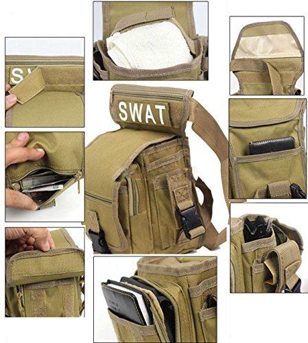 Männer Jungen Mehrzweck Militär Training CS SWAT Wanderung Jagd Taille Trägergürteltasche Braun