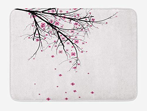 Graffiti-AOka Nature Bath Mat, Cherry Blossoming Falling Petals Flowers Springtime Park Simple Illustration Print, Plush Bathroom Decor Mat with Non Slip Backing, 23.6 W X 15.7 W Inches, Pink Black