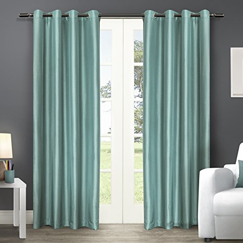 Silk Sheer Curtains (Exclusive Home Curtains Chatra Faux Silk Grommet Top Window Curtain Panel Pair, Teal, 54x96)