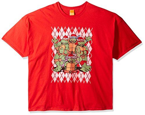 Argyle Print Tee (Nickelodeon Men's Big and Tall TMNT Argyle Ugly Christmas T-Shirt B&t, Red, 4XL)
