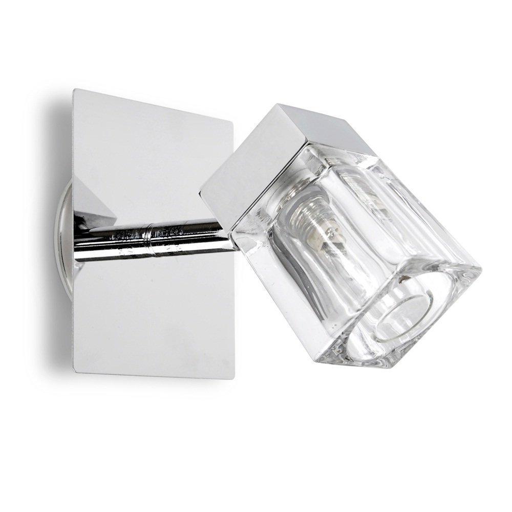 MiniSun – Moderno plafón o aplique de pared con acabado en cromo pulido y forma de cubito de hielo – IP44 de protección al agua