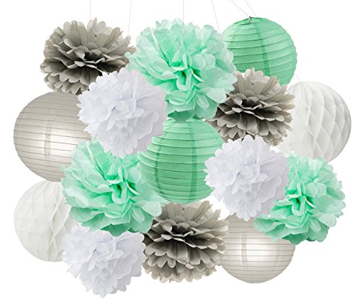 Baby Shower Decorations Furuix 15pcs Mint Grey White Party Decoration Kit Tissue Paper Pom Pom Honeycomb Ball for Bridal Shower Birthday Party Decoratios (Mint Grey White) -