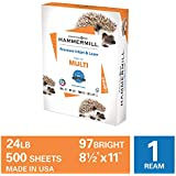 Hammermill Premium Inkjet & Laser Multipurpose Copy Paper, 24lb Copy Paper, 8.5 x 11, 1 Ream, 500 Total Sheets, Made in USA, Sustainably Sourced From American Family Tree Farms, 97 Bright, Acid Free, 166140R,White