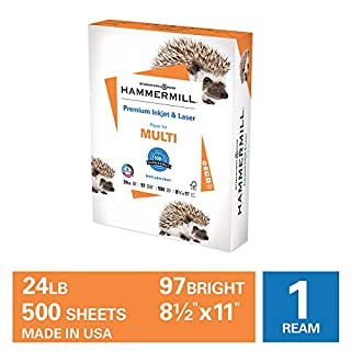 Hammermill Premium Inkjet & Laser Multipurpose Copy Paper, 24lb Copy Paper, 8.5 x 11, 1 Ream, 500 Total Sheets, Made in USA, Sustainably Sourced From American Family Tree Farms, 97 Bright, Acid Free, 166140R, White