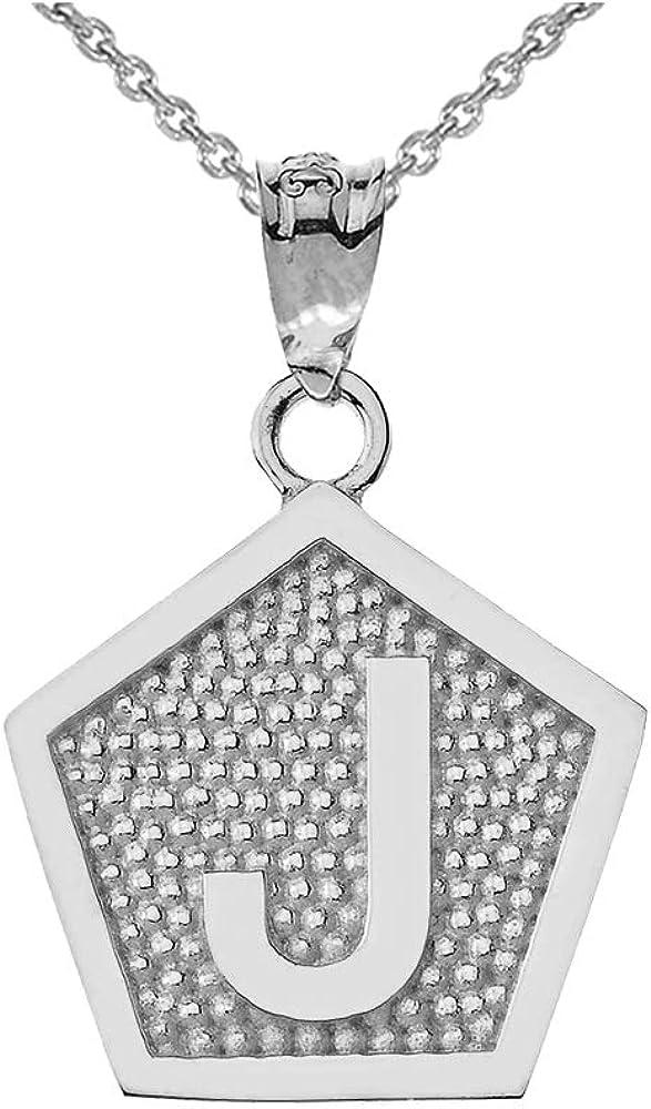 LA BLINGZ 10K Yellow Gold Letter L Initial Pentagon Pendant Necklace