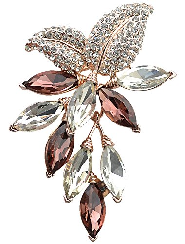 (Gyn&Joy Womens Purple Colored Swarovski Crystal Rhinestones Grapes Fruit Brooch Pin in Gold Tone)