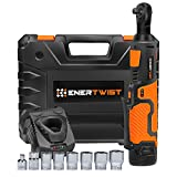EnerTwist Cordless Electric Ratchet Wrench 3/8 Inch with 12V Lithium-ion Battery and Fast Charger Includes 7-Piece 3/8'' Metric Sockets Kit and 1/4'' Adaptor, ET-RW-12