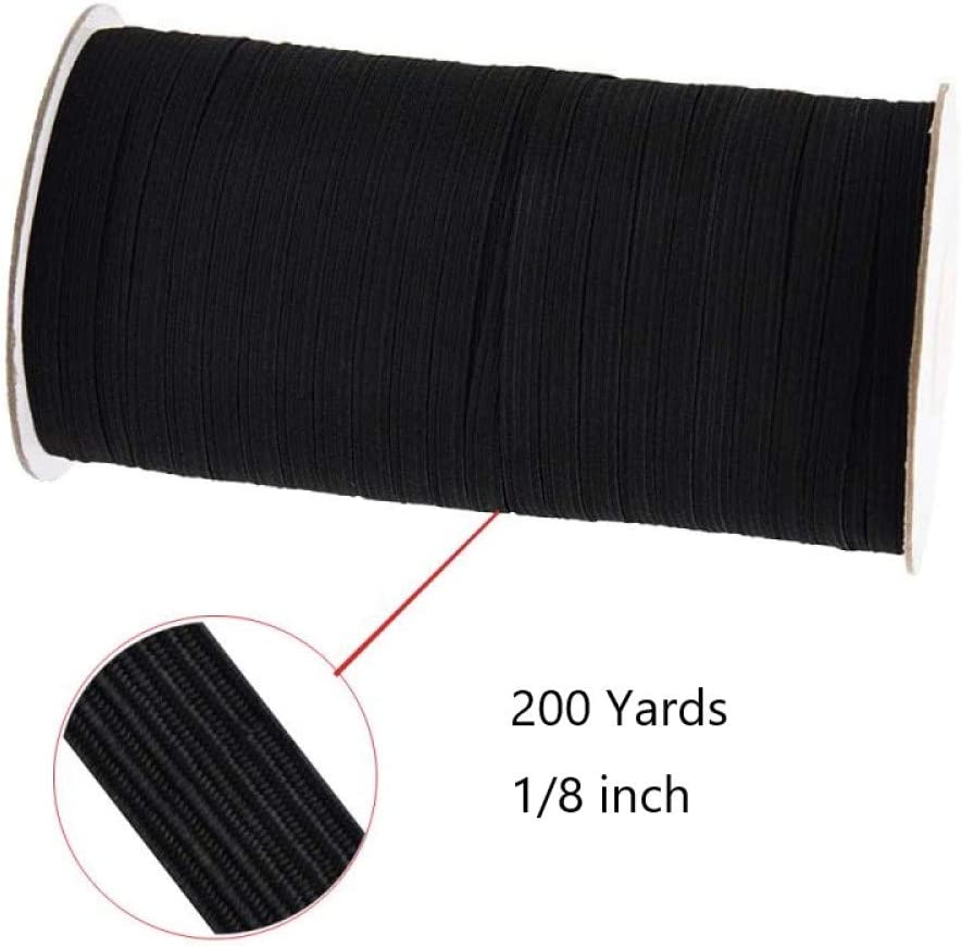 """200Yards Roll-Black 1//8/"""" Width Flat Braided Elastic Band for Sewing Crafts"""