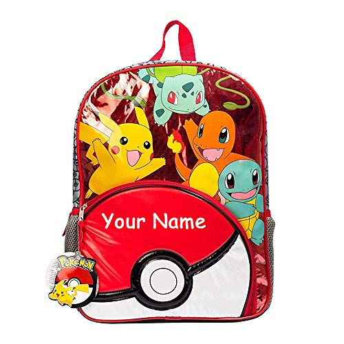 The Trendy Turtle Personalized Pokemon Characters Red Back to School Backpack Bookbag Metallic Design with Custom Name -