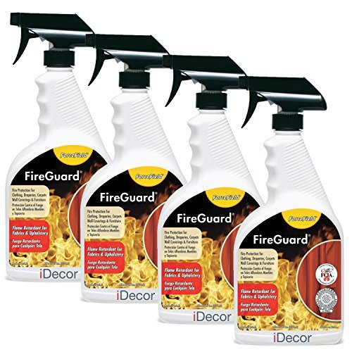 ForceField FireGuard Flame-Retardant Treatment - set of 4 sprays - 22oz each by iDecor [can be safely applied to clothing, fabrics, draperies, furniture, carpets, upholstery, textiles] -
