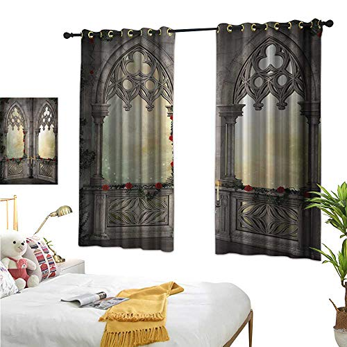 Gothic Decorative Curtains for Living Room Vintage Style Ottoman Palace Balcony for Sultans with Red Rose Flowers Ivy Terrace Image W55 x L45,Suitable for Bedroom Living Room Study, etc. ()