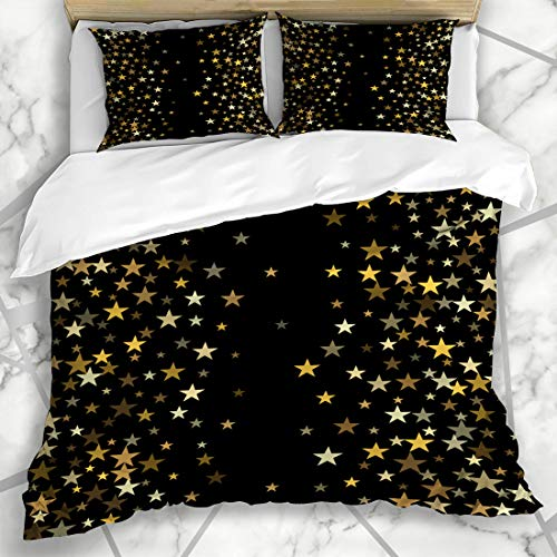Ahawoso Duvet Cover Sets King 90x104 Shape Brown Black Gold Stars Golden Christmas Space Abstract Yellow Border Celebrate Confetti Falling Design Microfiber Bedding with 2 Pillow Shams ()