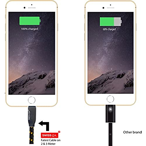 60%OFF Swiss-QA iPhone 8 Charger 10ft, Black Lightning Cable from, NEW Design,Strong Nylon Cable, Unmatched 2.4AMP,Best High Speed Charger,For Apple Phone 8, 7, 6, 5, iPad, iPod