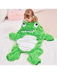 SINOGEM Cozy Alligator Blanket for Kids, 2-in-1 Soft Plush Animal Sleeping Bag Pocket Style Children Tail Blanket with 3D Crocodile Pattern for Movie Night,Sleepover,Pretend Play,Travel,Nap Time