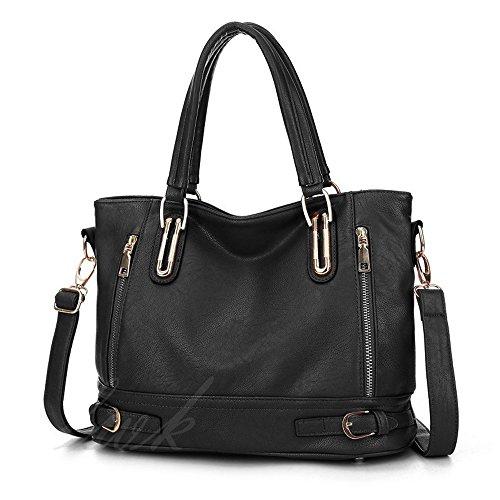 Womens Handbag,Womens Bag Zipper Design Front and Back Zipper Pocket Large Shoulder bag Tote Bags PU Leather (Design Front Pocket Tote)