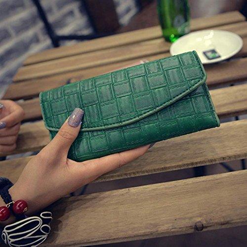 Hot Clutch 2016 Green Long FEITONG Women Fashion by Handbag Weave Wallet TqqRadwx
