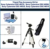 Tripod Plus Accessory Kit for Sony Cybershot DSC-W570, Sony Cybershot DSC-W560, Sony Cybershot DSC-W530, Sony Cybershot DSC-W510 includes: Flexible Monopod, Universal Adapter, 5PC Lens Cleaning Kit, and USB 2.0 Card Reader