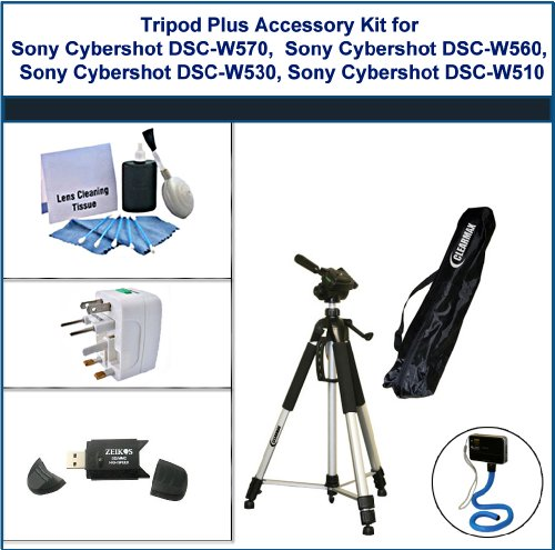 Tripod Plus Accessory Kit for Sony Cybershot DSC-W570, Sony Cybershot DSC-W560, Sony Cybershot DSC-W530, Sony Cybershot DSC-W510 includes: Flexible Monopod, Universal Adapter, 5PC Lens Cleaning Kit, and USB 2.0 Card Reader by ClearMax (Image #1)