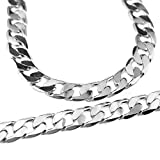 """30"""" Cuban Link Necklace Silver Plated Big Thick 12mm Heavy Miami Flat Curb Chain"""