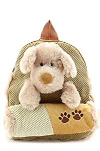 Kids Plush Furry Lovely Dog Backpack with Pencil Pouch Beige One Size