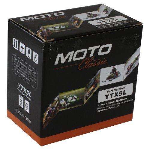 Moto Classic YTX5L 12V 6.5Ah Sealed Maintenance Free AGM 125CCA Battery (Polaris Outlaw 50 Battery)