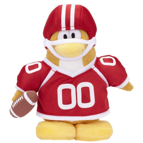 "Club Penguin Collector 6.5"" Penguin Plush - Series 9 Football Player - Red"