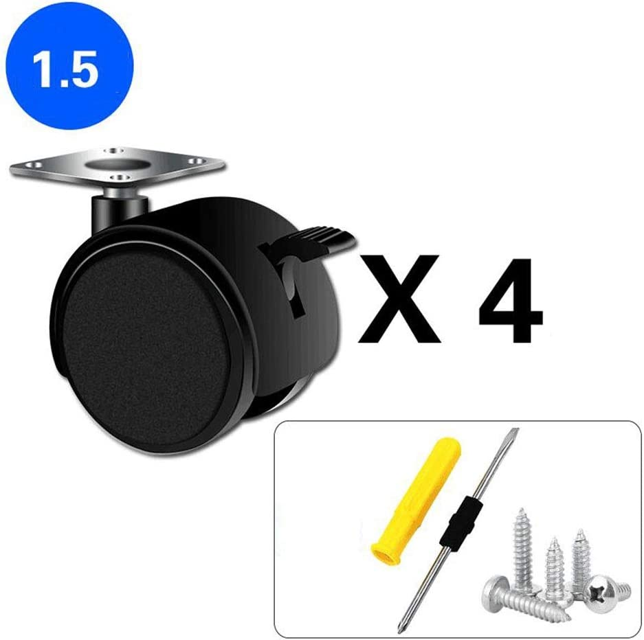 Color : Brake wheel, Size : 1.5 inches MUMA 1//1.5//2 Inch Cabinet Casters Coffee Table Table Pulley Universal Brake Wheel / Computer Desk Casters