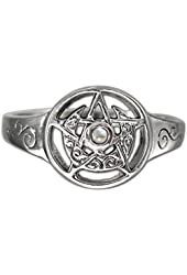 Sterling Silver Crescent Moon Pentacle Pentagram ring jewelry with Rainbow Moonstone (sz 5-12)