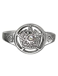 Sterling Silver Crescent Moon Pentacle Pentagram Ring with Rainbow Moonstone (Size 5-12)