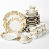 Brylanehome 40-Pc. Golden Ceramic Dinnerware Set (Gold White)