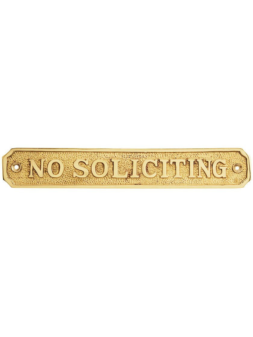 Cast Brass''No Soliciting'' Sign in Polished Brass